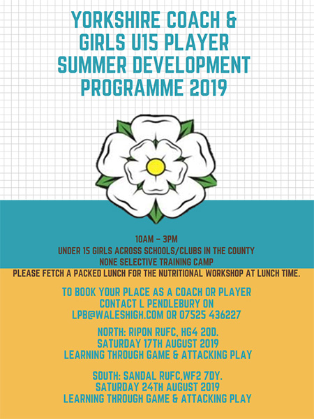 Yorkshire Coach & Girls U15 Summer Development Programme 2019