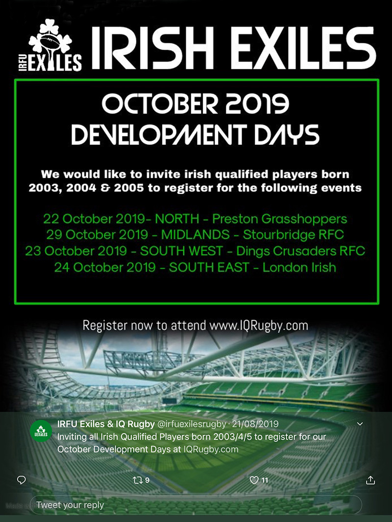 The Irish Exiles Development Days