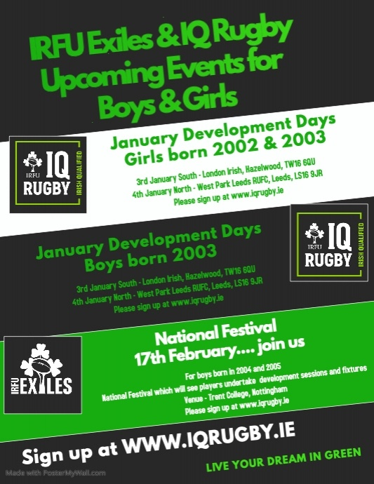 IRFU Exiles & IQ Upcoming Events